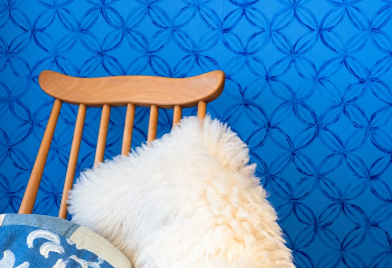 Chair with fur rug